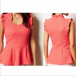 Anthro || Postmark coral peplum blouse size large